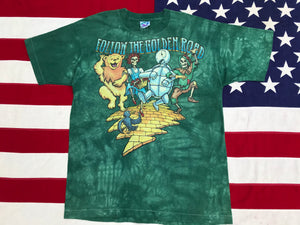 "Grateful Dead - David Opie "" Fall Tour 1994 "" - "" Follow The Golden Road "" Original Vintage Rock Tie Dye T- Shirt By Liquid Blue Made In USA"