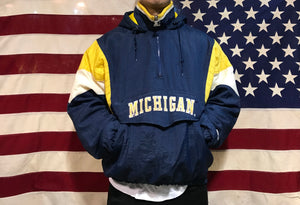 NFL Michigan Wolverines Mens Hooded 90's Nylon Vintage Starter Jacket