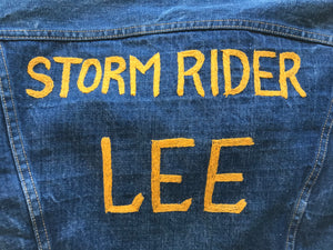 Rare Original Lee Storm Rider 70's Vintage Denim Blanket Lined Jacket With Embroidered Back Union Made in USA