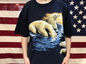 "Animal Print 90's Vintage T-shirt "" Polar Bears "" by Wild Wear Made in USA"
