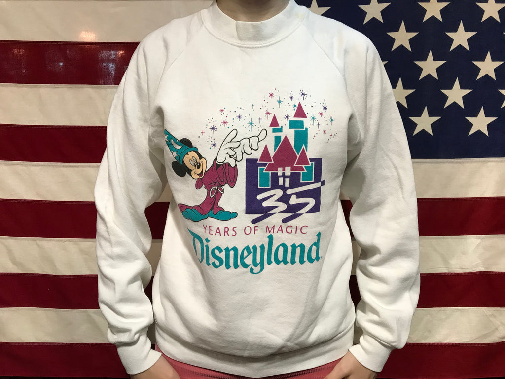 Mickey Mouse 35 Years of Magic Disneyland®️ 80's Vintage Crew Sweat Raglan Sleeve Made in USA by ©️DISNEY