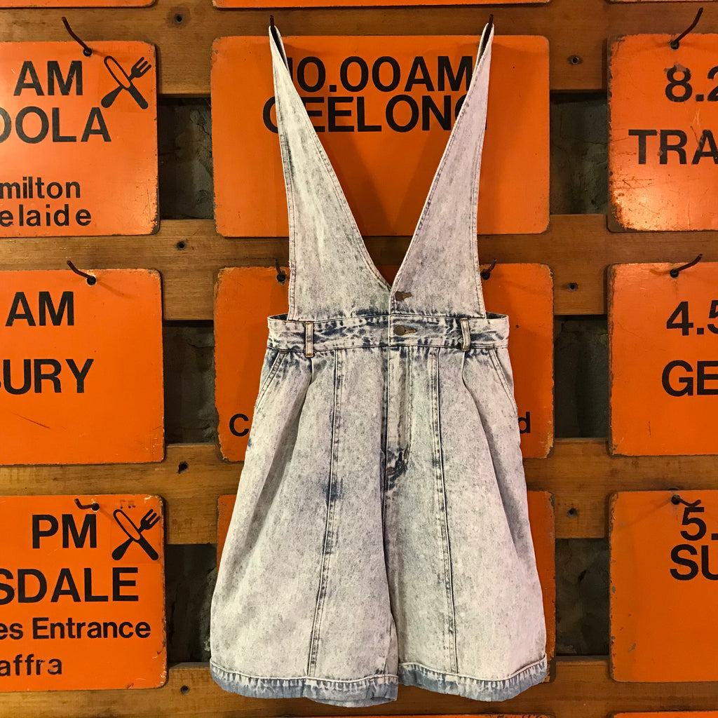 Vintage 80's G.Pellini High Waisted Acid Washed Denim Women's Short Overalls