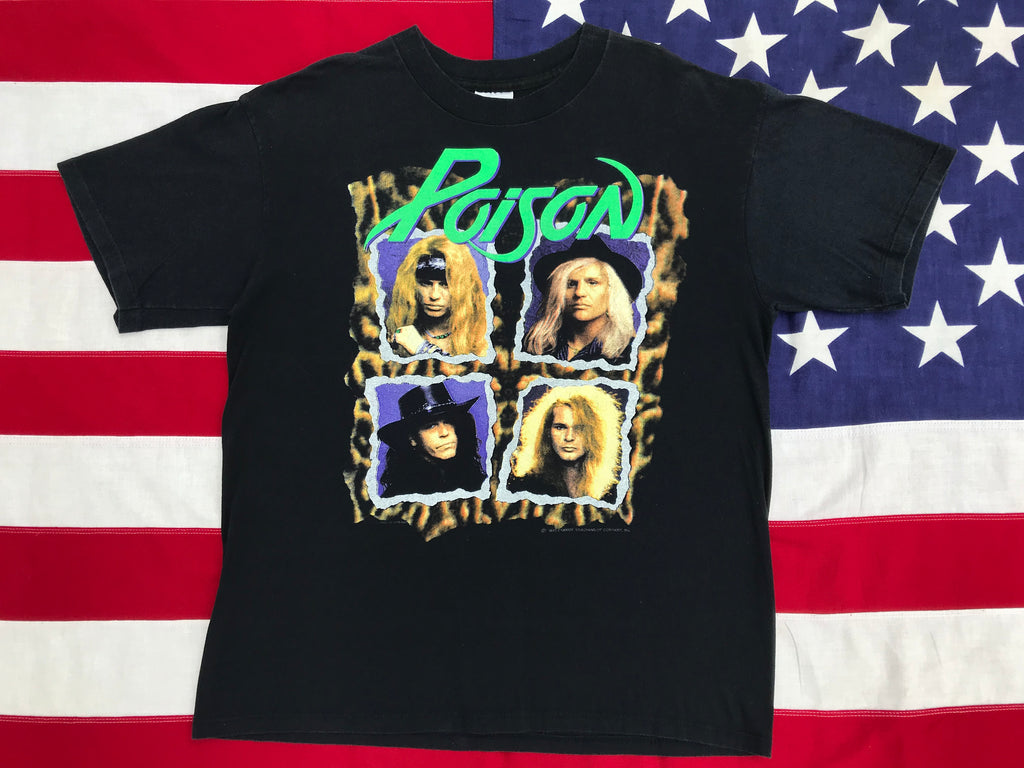 Poison Flesh & Blood World Tour 1990-91 Original Vintage Rock T-Shirt by Brockum Made in USA