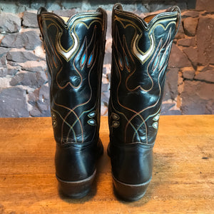 "Cowboy Boots Acme Vintage Mens Fancy "" Eagle ""  Inlaid Western Boot Made in USA"