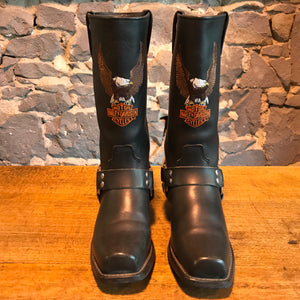 Harley Davidson Vintage Women's Black Embroidered Iconic Logo Motorcycle Boots USA Size 9