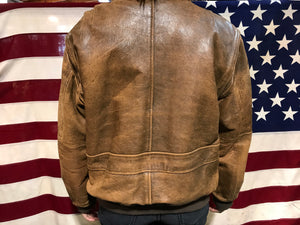 Context 80's Vintage Mens Leather Bomber Jacket