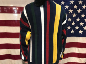 Chaps by Ralph Lauren Mens 90's Vintage Vertical Multi Stripe Cotton Knit