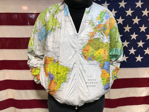 Wearin the World Tyvek by DuPont Vintage 1989 World Map Print Paper Pattern Bomber Jacket