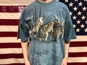 "Animal Print 90's Vintage T-Shirt "" Wolves "" Designs By Habitat Made in USA"