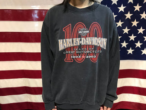 Harley Davidson 2003 Vintage Crew Sweat 100 Years of Great Motorcycles Milwaukee USA