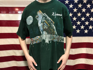 "Animal Print 90's Vintage T-shirt ""Wyoming "" Wolf Southwestern Design by Fruit of the Loom Made in USA"