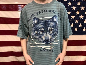 "Animal Print 90's Vintage T-shirt "" Wolf "" Design Glacier National Park - Montana Made in USA by Miller"