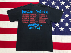 "Great White "" HIGHWAY HUNTER TOUR '89 "" - "" MISTA BONE ""Original Vintage Rock T-Shirt by Tee Jays Made in USA"