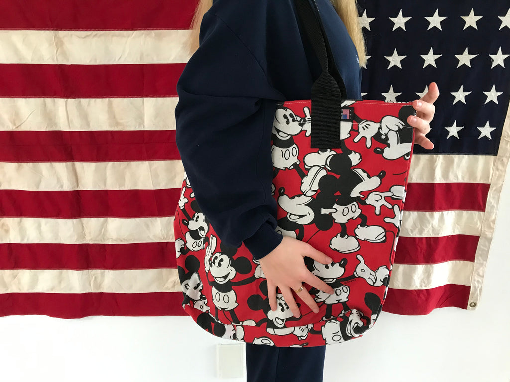 Mickey Mouse Print Vintage Disney Fabric Shoulder Tote Bag Made in USA