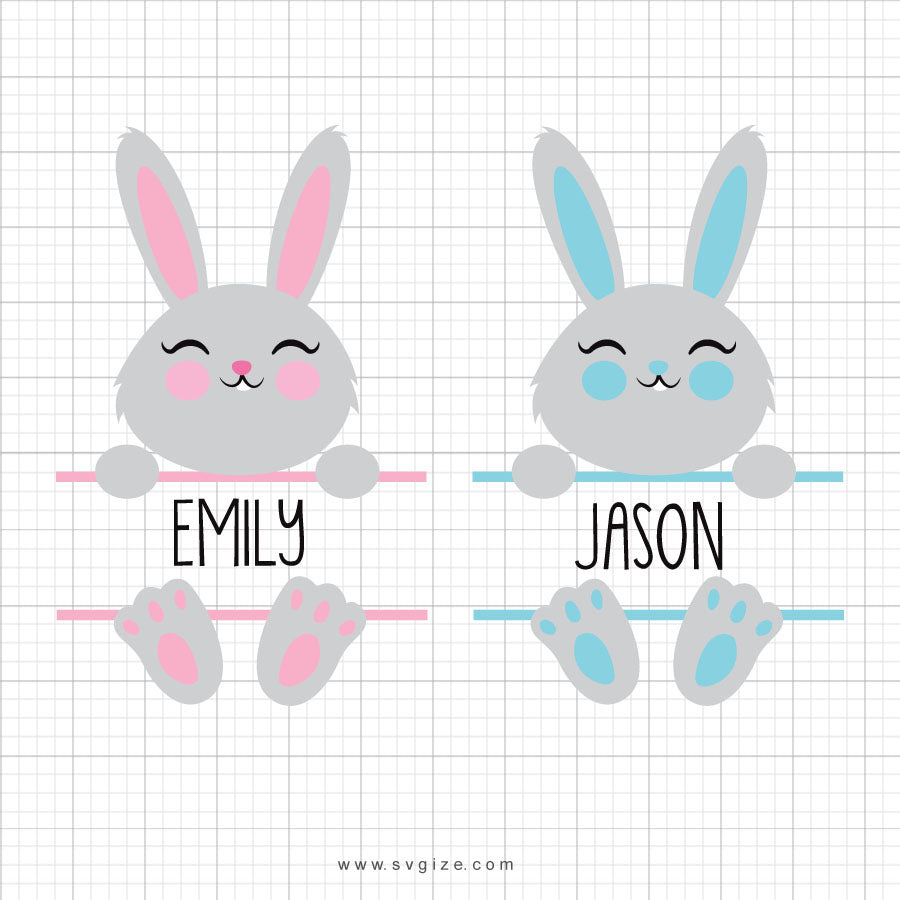 Easter Bunny Split Monogram Svg Clipart - svgize