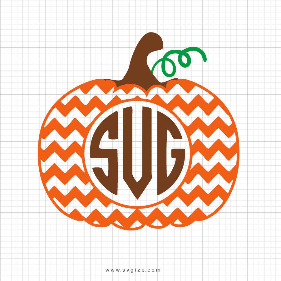 Chevron Monogram Pumpkin Svg Clipart