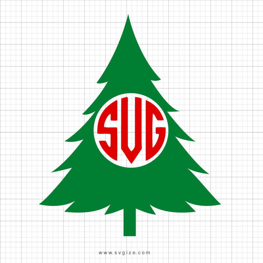 Christmas Tree Monogram SVG