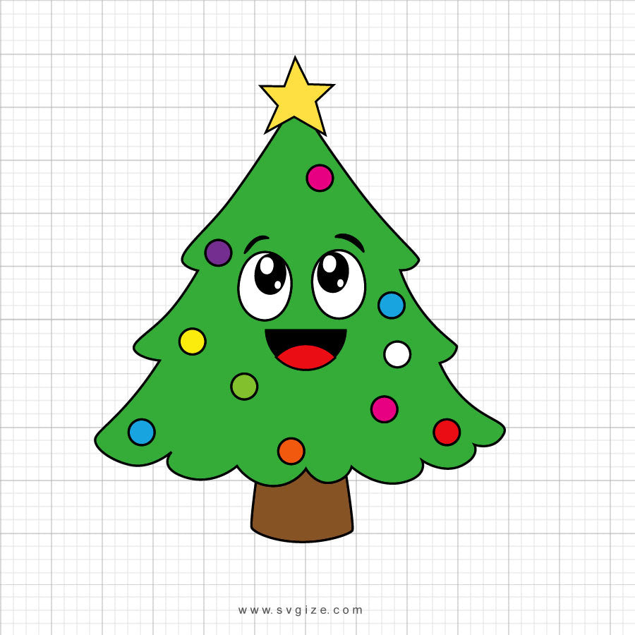 Christmas Tree Character Svg Clipart