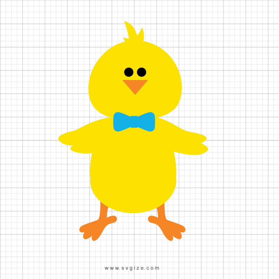 Easter Chick Bowtie Svg Clipart