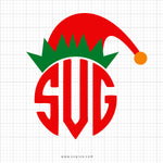 Elf Hat Monogram Christmas SVG Clip Art