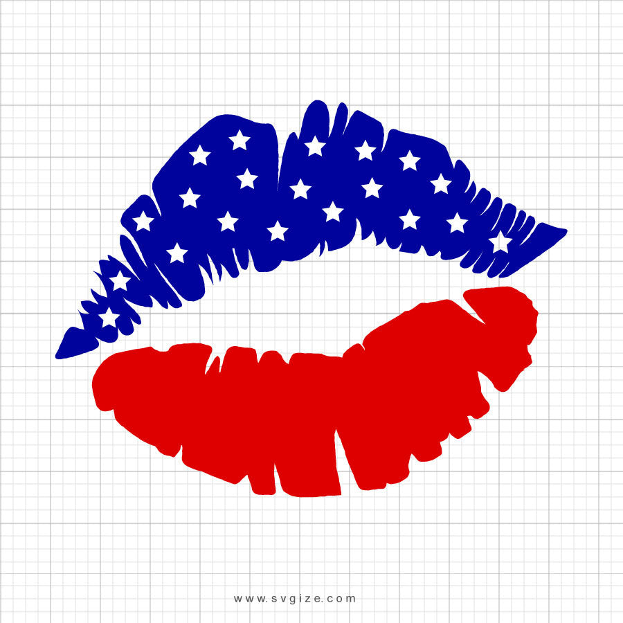 Flag Lips July 4th Svg