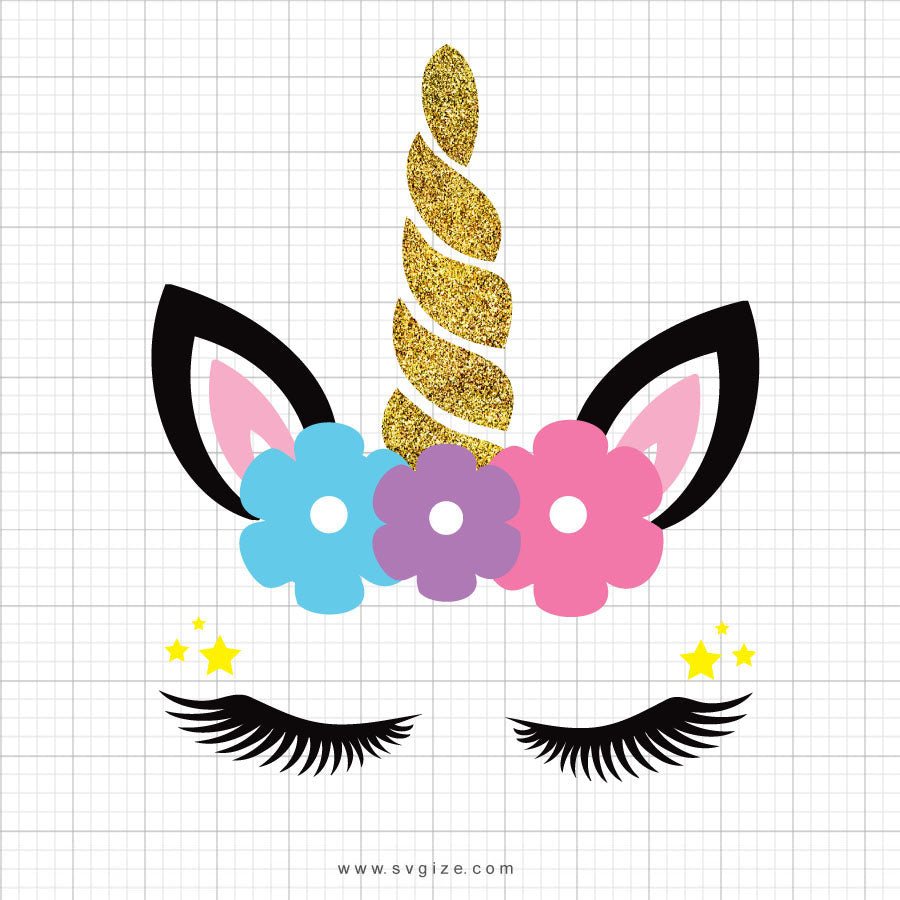 Glitter Unicorn Head Svg Clipart