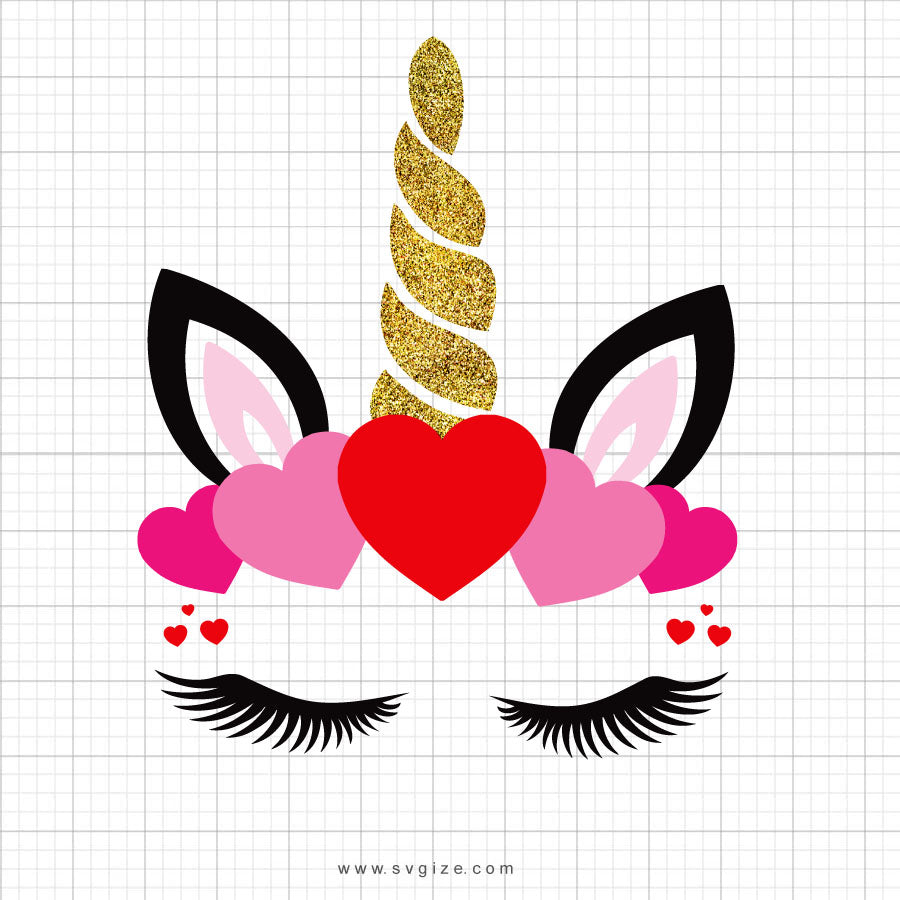 Heart Unicorn Head Clipart - SVGize