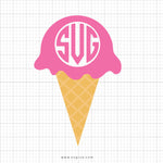 Ice Cream Cone Monogram SVG Cut File - svgize