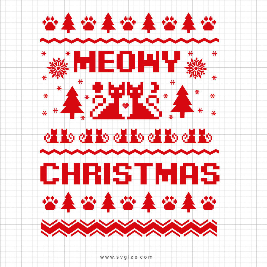 Meowy Christmas Svg Saying
