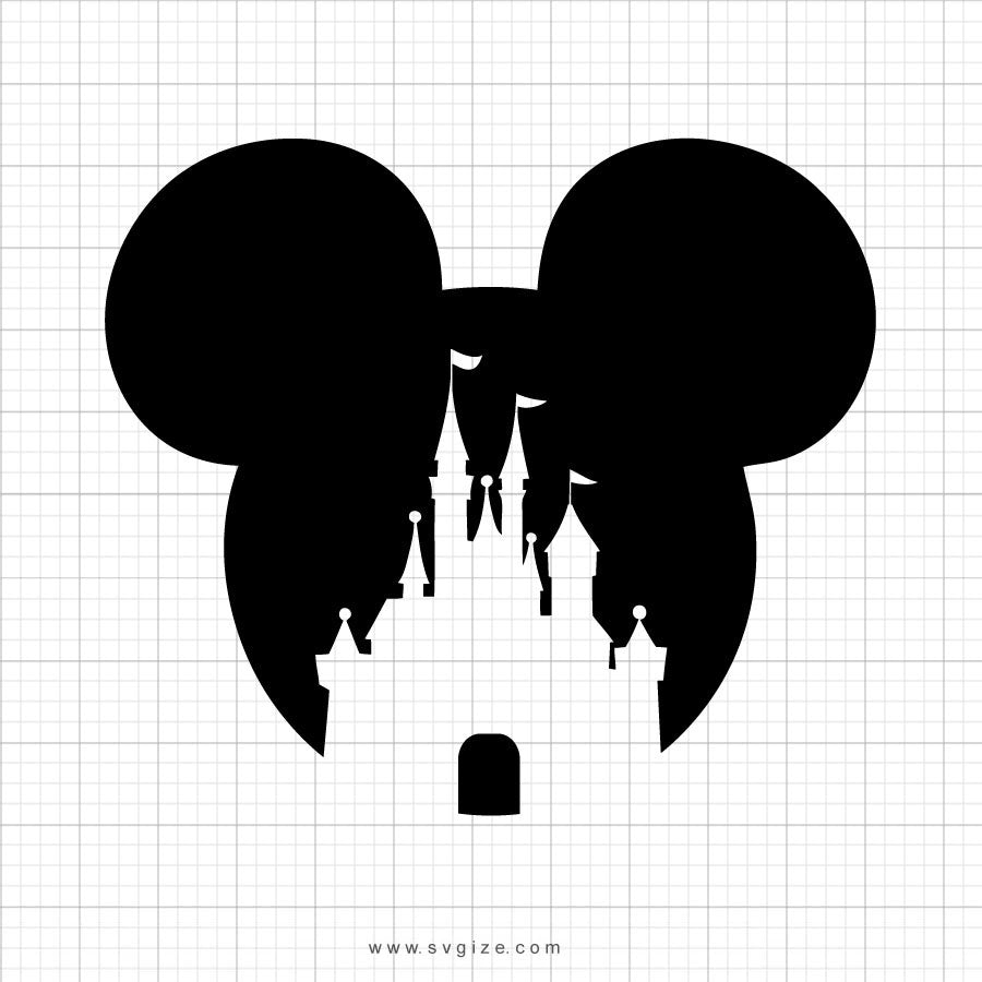 Mickey Mouse Castle Head Svg Clipart