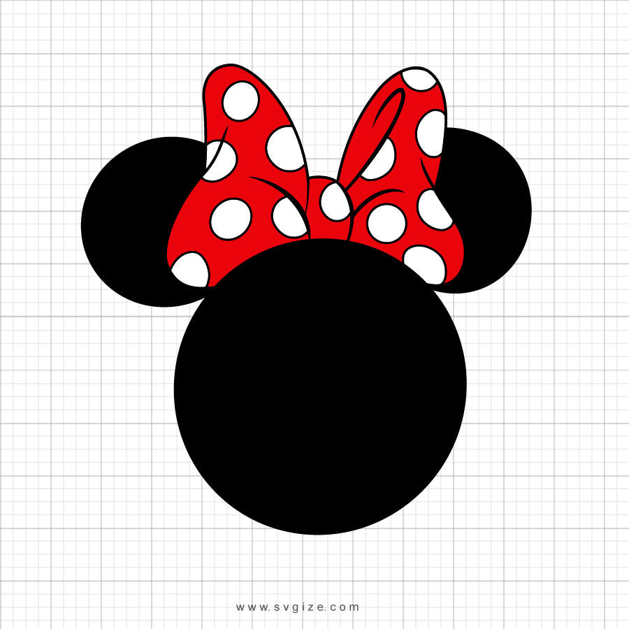 Minnie Mouse Red Polka Dot Bow Svg Clipart