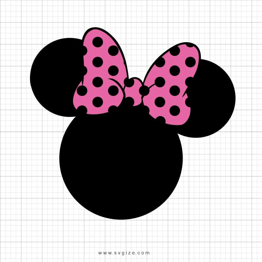 Minnie Mouse Head Pink Polka Dot Bow Svg Clipart