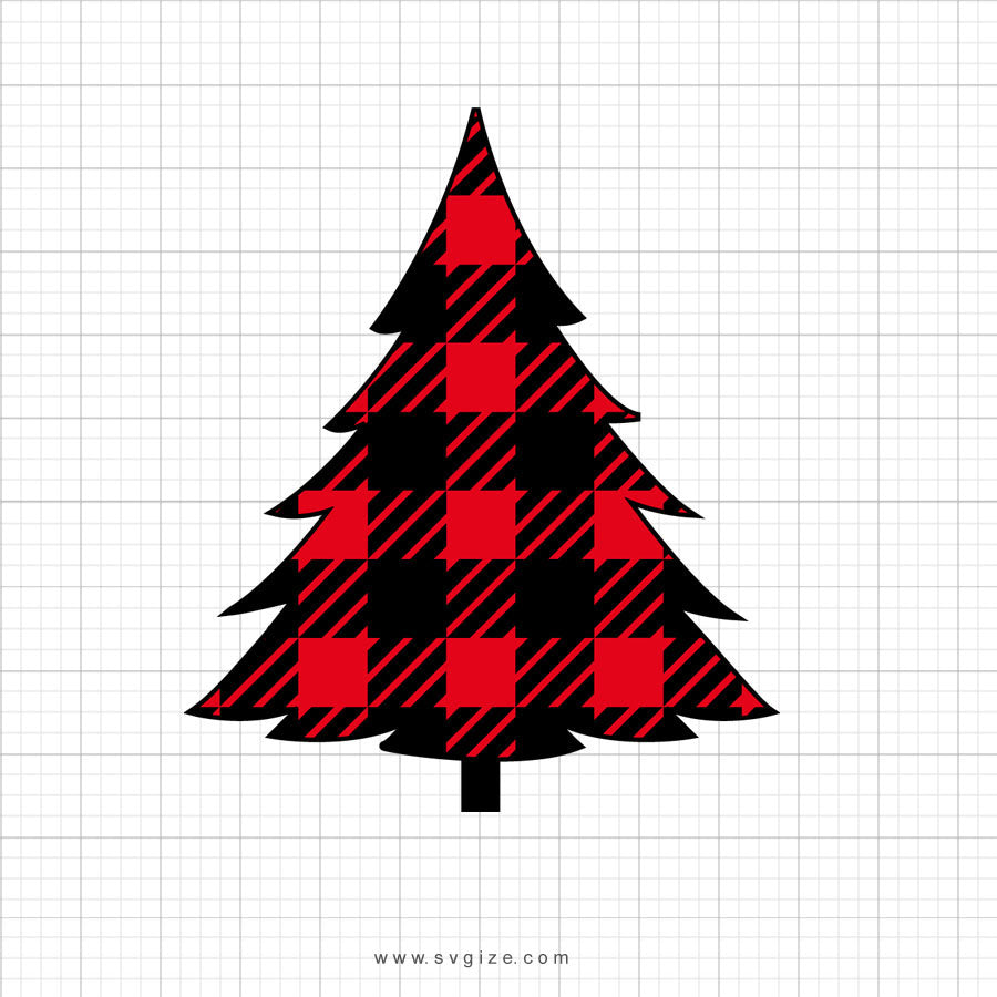 Buffalo Plaid Tree Svg Clipart - SVGize