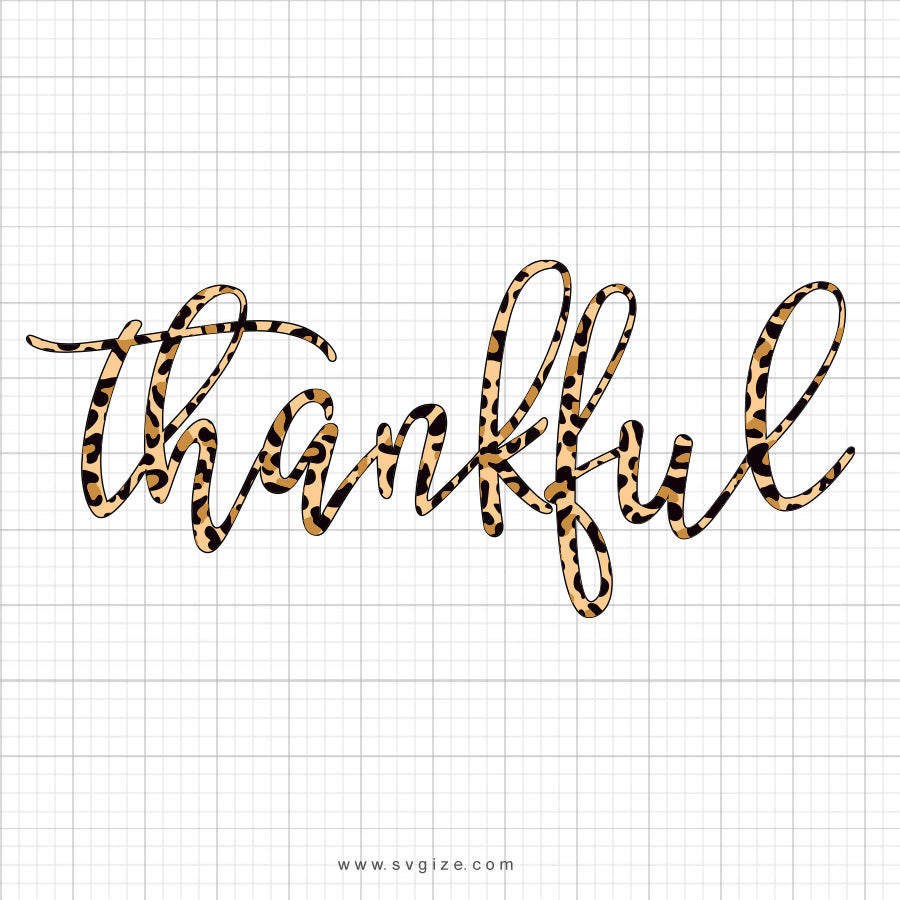 Thankful Leopard Print SVG Saying