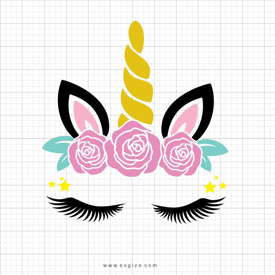 Unicorn Head Roses Svg Clipart - SVGize