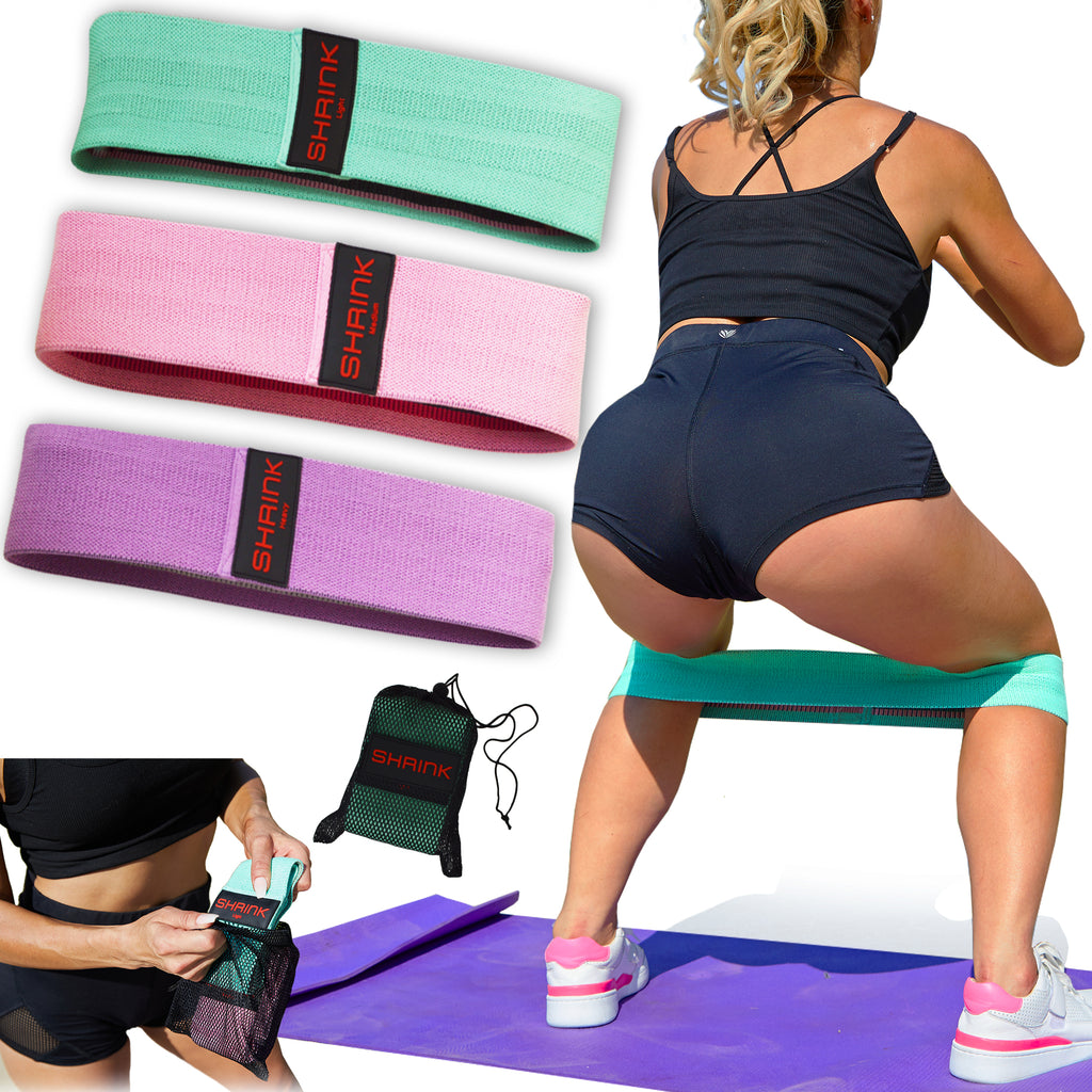 Shrink 3 Pc Fabric Resistance Bands Set
