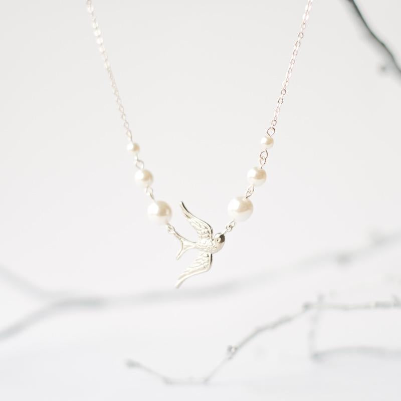 Bird Pearl Necklace