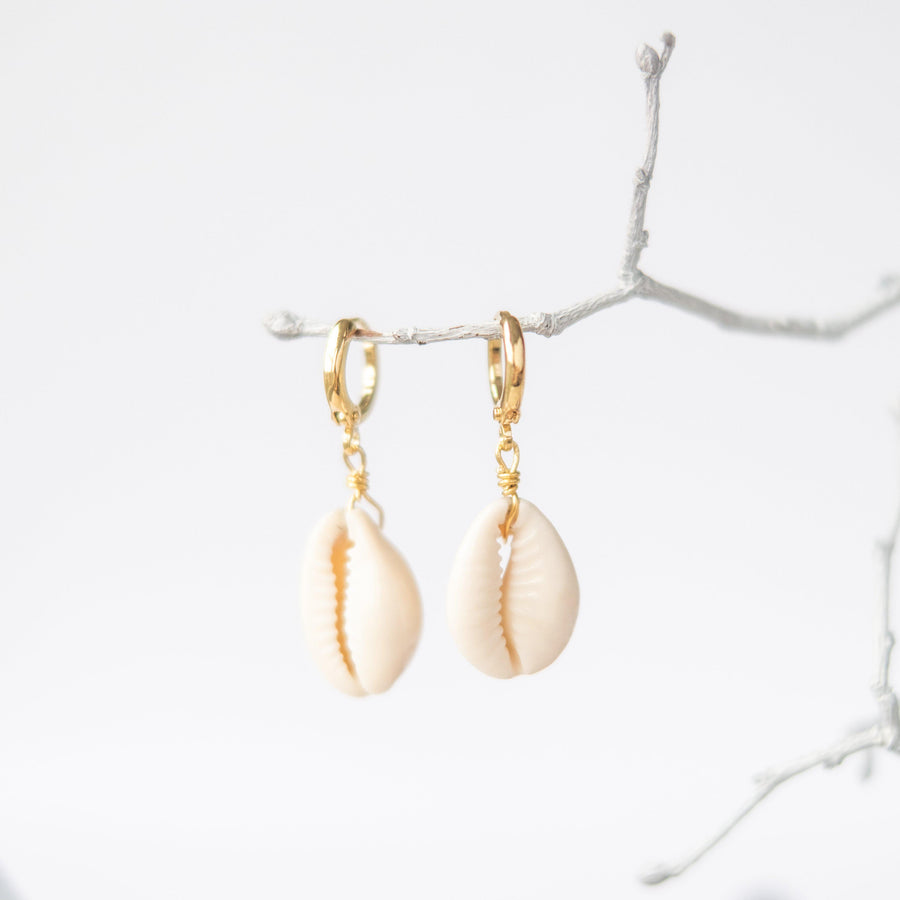 Cowrie Shell Huggie Hoop Earrings