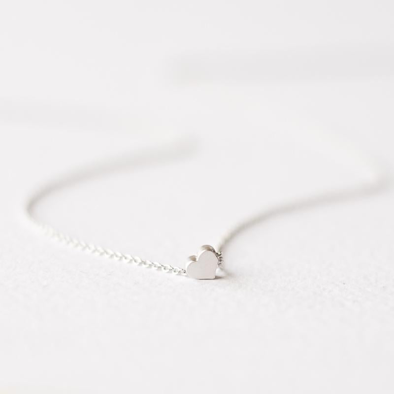 Delicate silver heart necklace