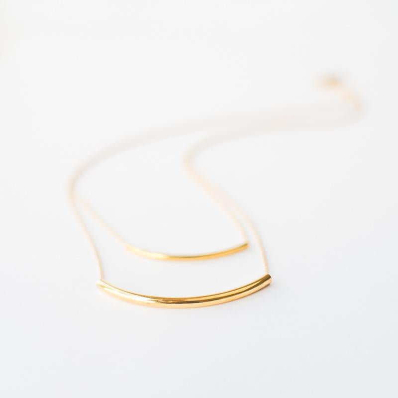 Geometric Double Layered Tube Gold Necklace