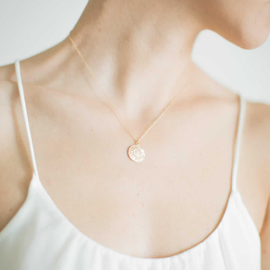 Gold Sun Coin Necklace_1