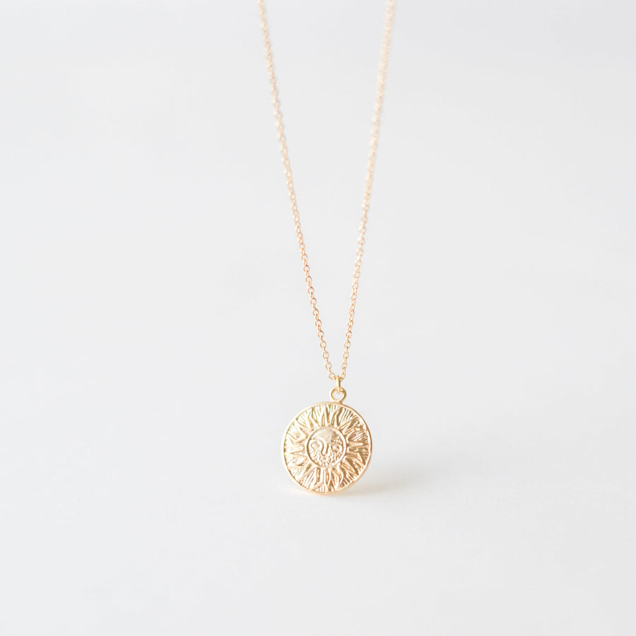 Gold Sun Coin Necklace