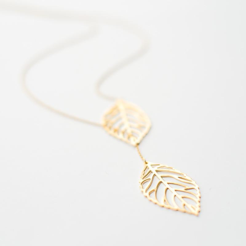 Gold Two Leaves Necklace