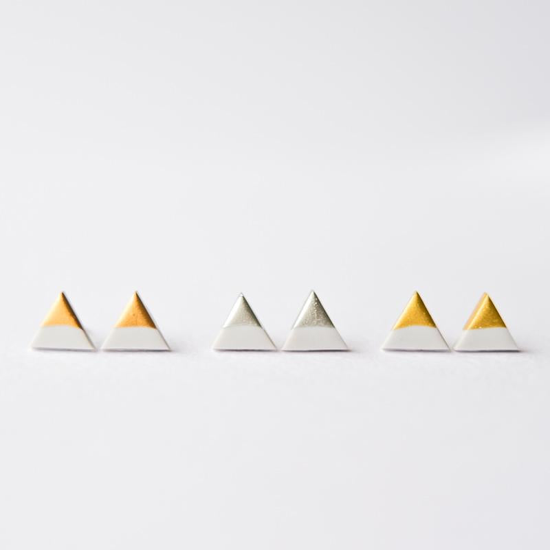 Grey Silver Dipped Triangle Stud Earrings