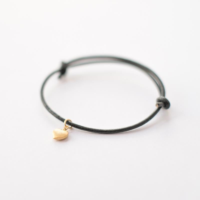 Leather Bracelet with Gold Heart