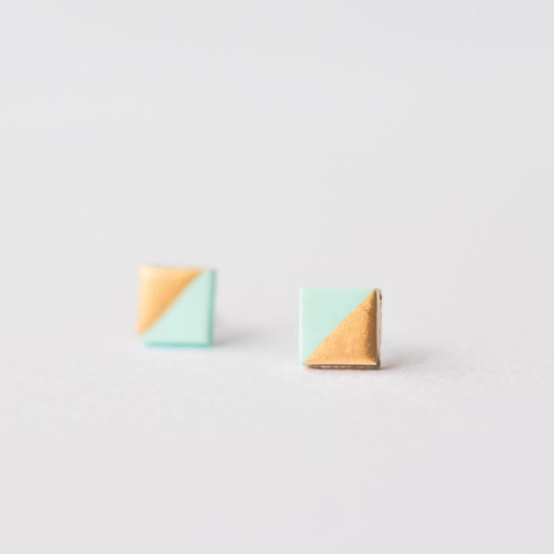 Mint Rose Gold Dipped Square Stud Earrings