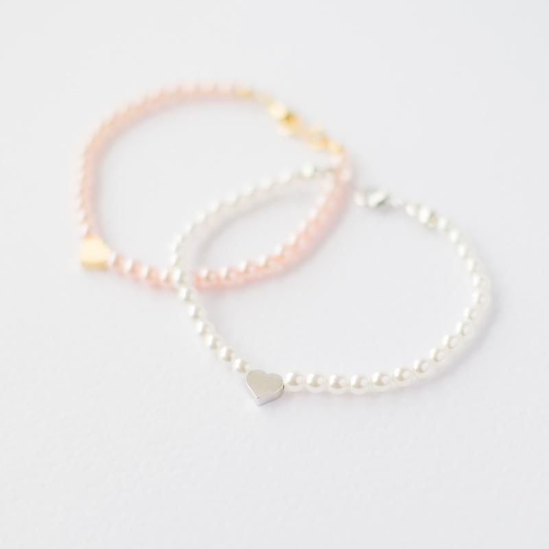 Pink Pearl Bracelet with Heart