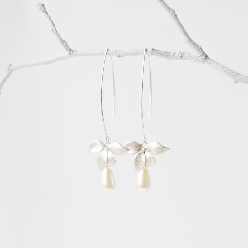 Silver Orchid Flower Earrings with Pearls