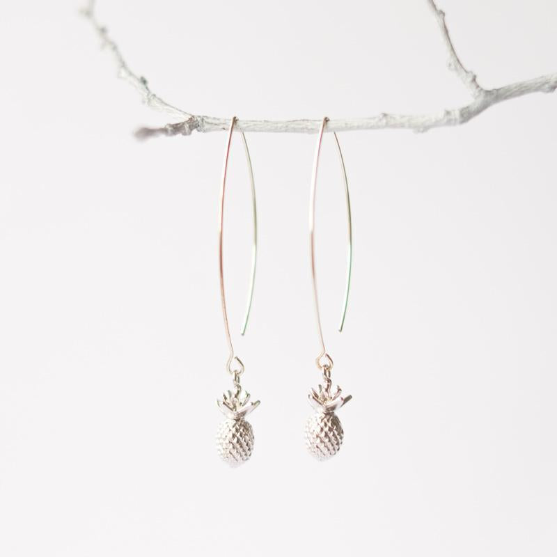 Silver Pineapple Earrings