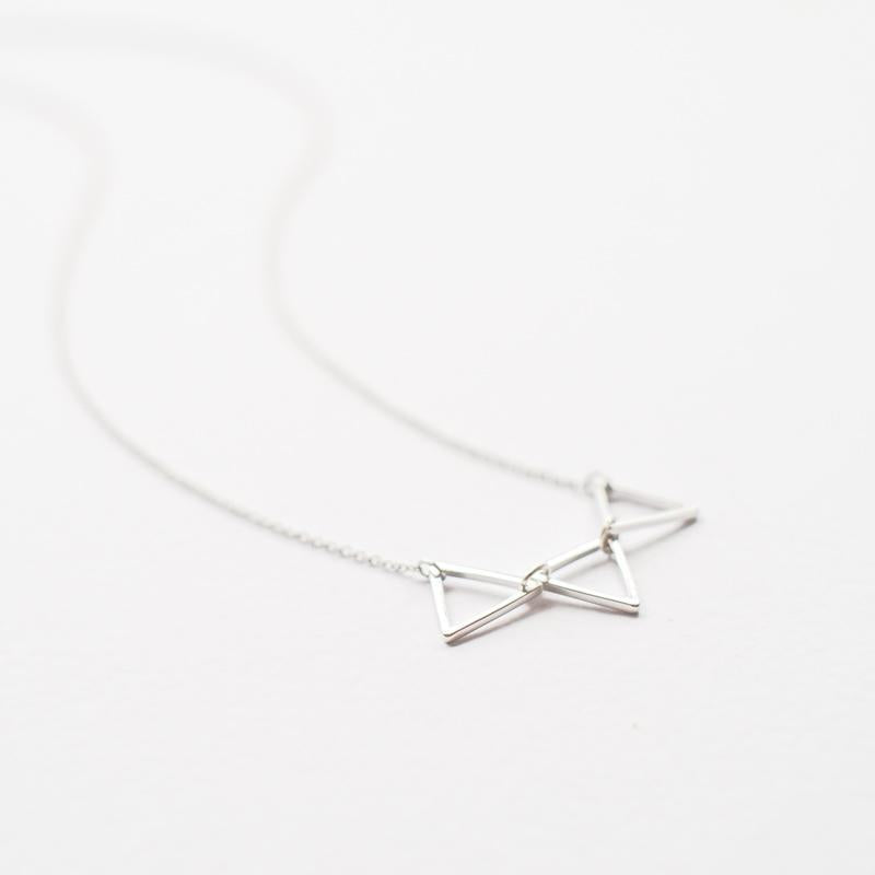 Three Triangles Silver Necklace